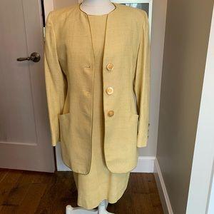 Raffinatti raw silk suit pale lemon